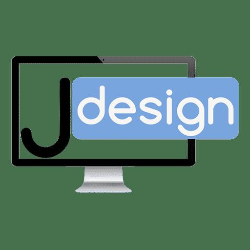 Agence web Jdesign écran d'ordinateur avec le lettre j et le mot design dans l'ecran le fond est blanc