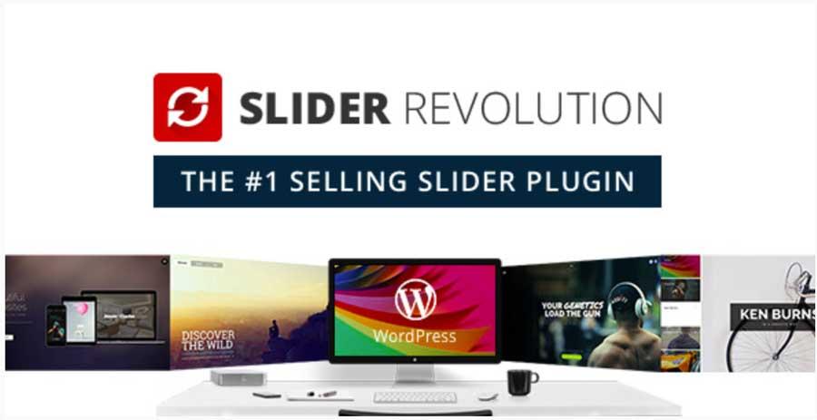 des écrans d'ordinateurs montrent des exemples de création pour le plugin slider revolution