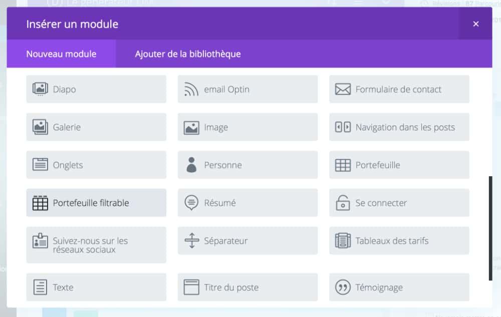 thème WordPress DIVI: différents modules pour la création d'un site web
