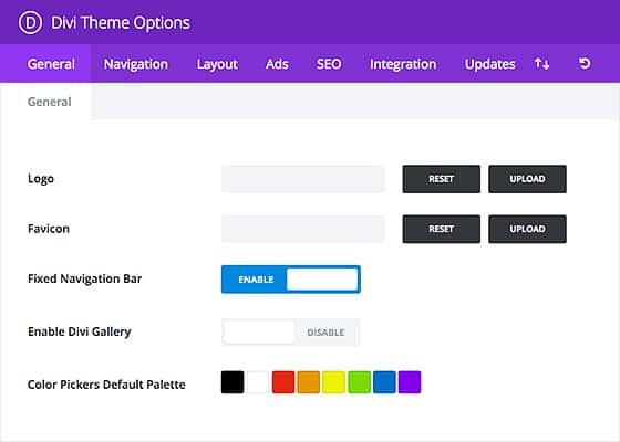thème WordPress DIVI : panel des différentes options DIVI