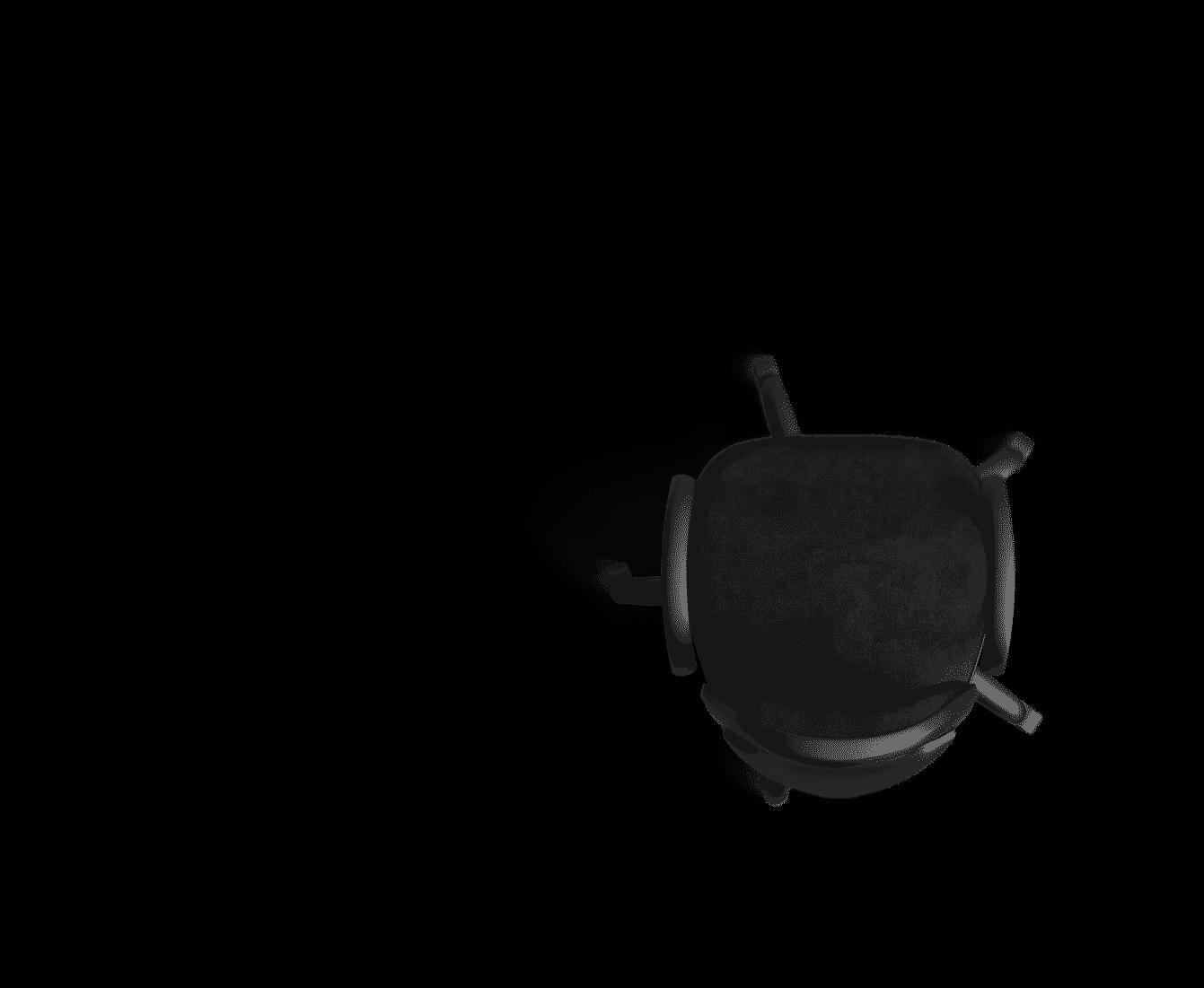 en bas à droite, une chaise noir de bureau avec 5 roulettes et deux accoudoirs. l'image a un fond transparent