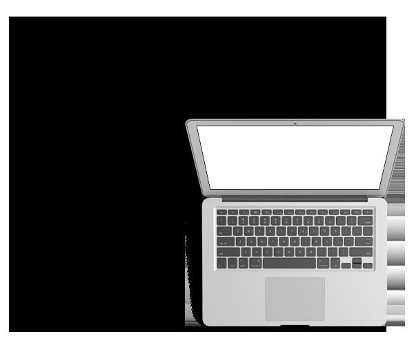 ordinateur gris ressemblant à un macbook d'Apple. l'ordinateur est ouvert, on voit le clavier au touche noir , un trackpad rectangulaire et son écran à un fond blanc. l'image a un fond transparent