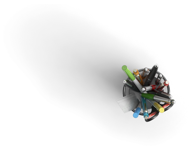 Un pot de différents stylo, un ciseau et une petite règle se trouvant en bas à droite. le fond de l'image est transparent