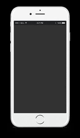 Un iphone avec un contour blanc, un fond noir au centre de l'iphone et le fond extérieur est transparent